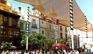 Plaza del Salvador durante la temporada de verano en Sevilla.