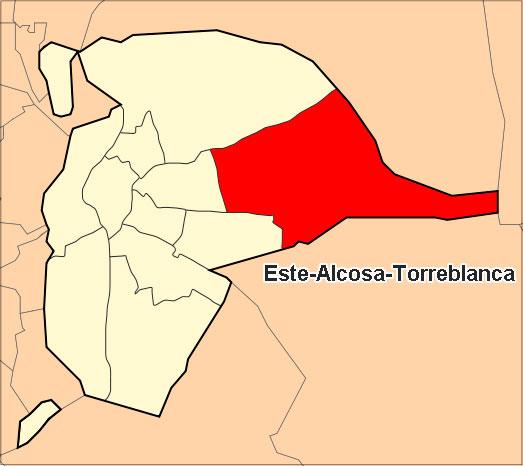 Ubicación del Distrito Este-Alcosa-Torreblanca
