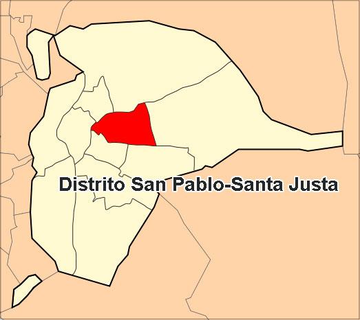 Ubicación del distrito San Pablo-Santa Justa